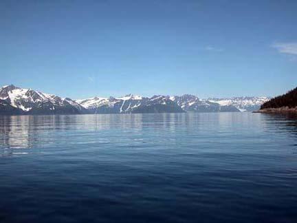 Alaska mountain range along the water