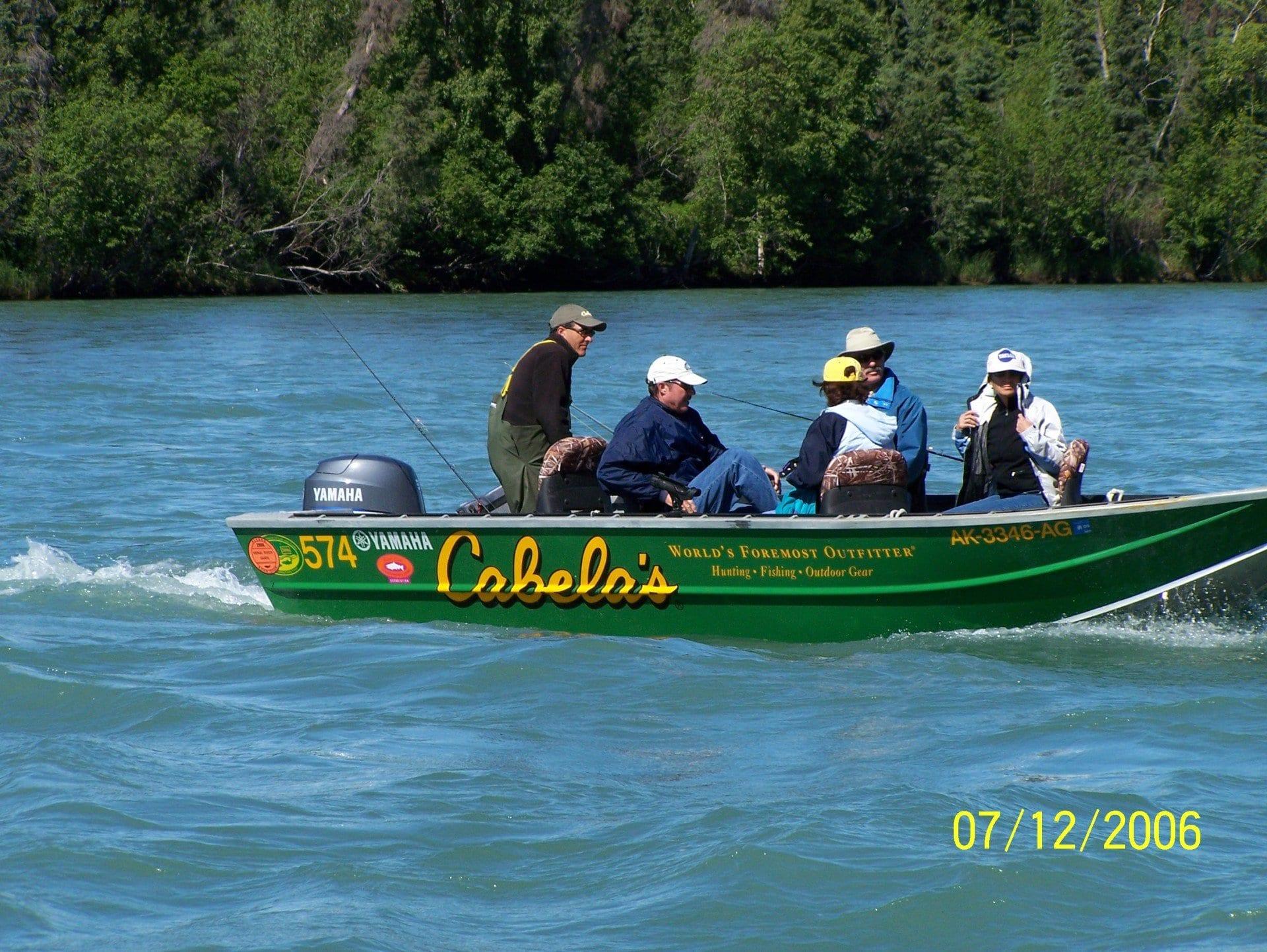 fisherman on motorboat