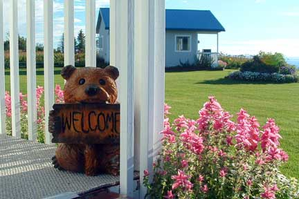 welcome bear wood statue