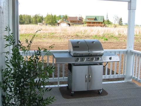 outdoor grill on porch