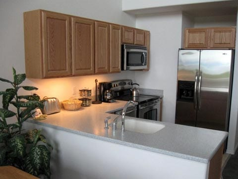 kitchen with white counters