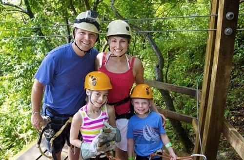 Alaska family zip lining