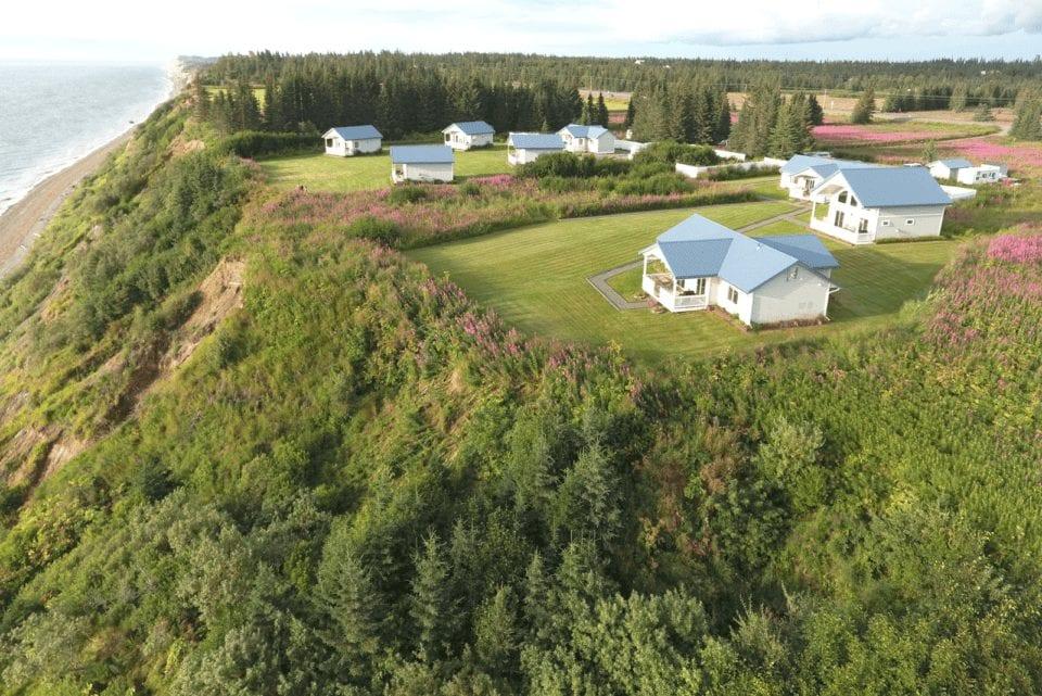 birds eye view of alaskan inlet town