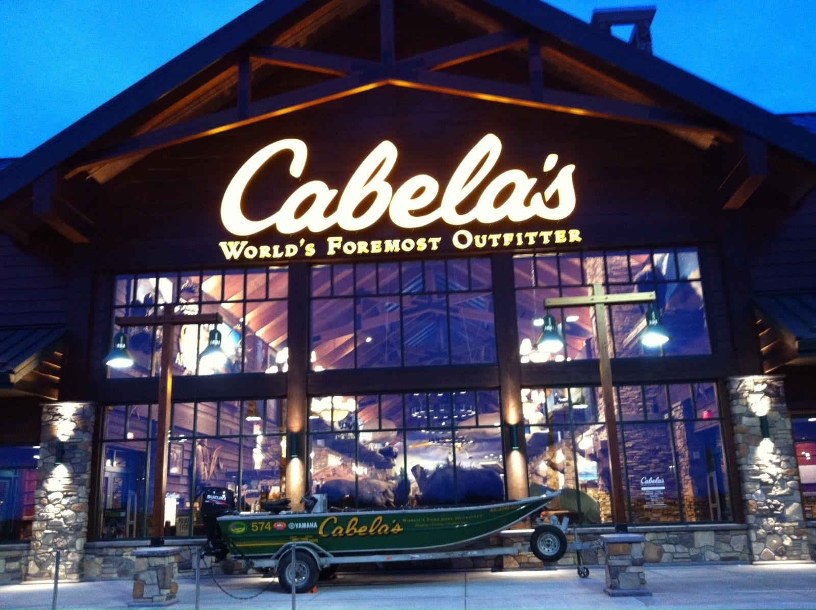 fishing boat in front of Cabela's store