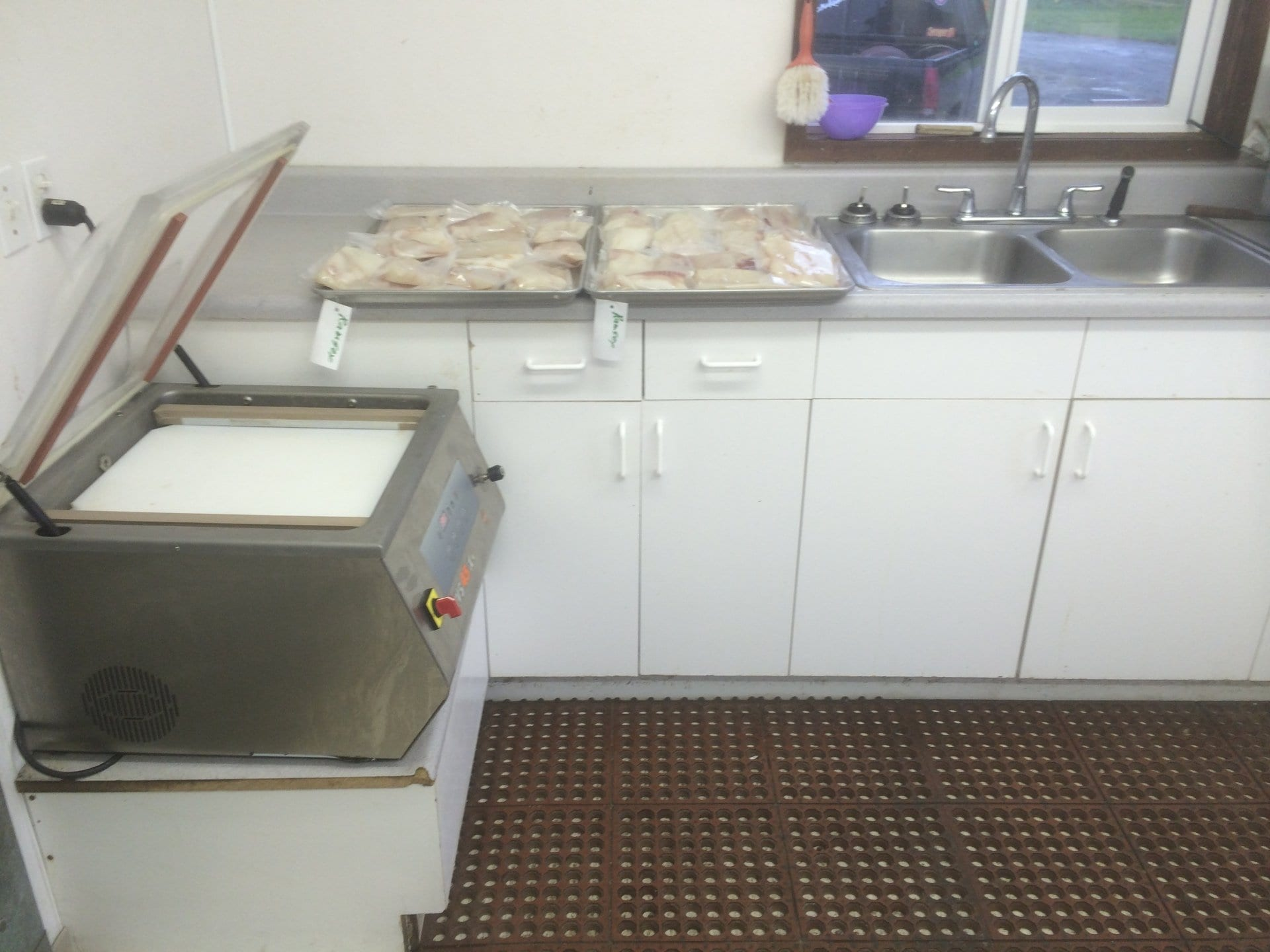 kitchen with fish being prepped
