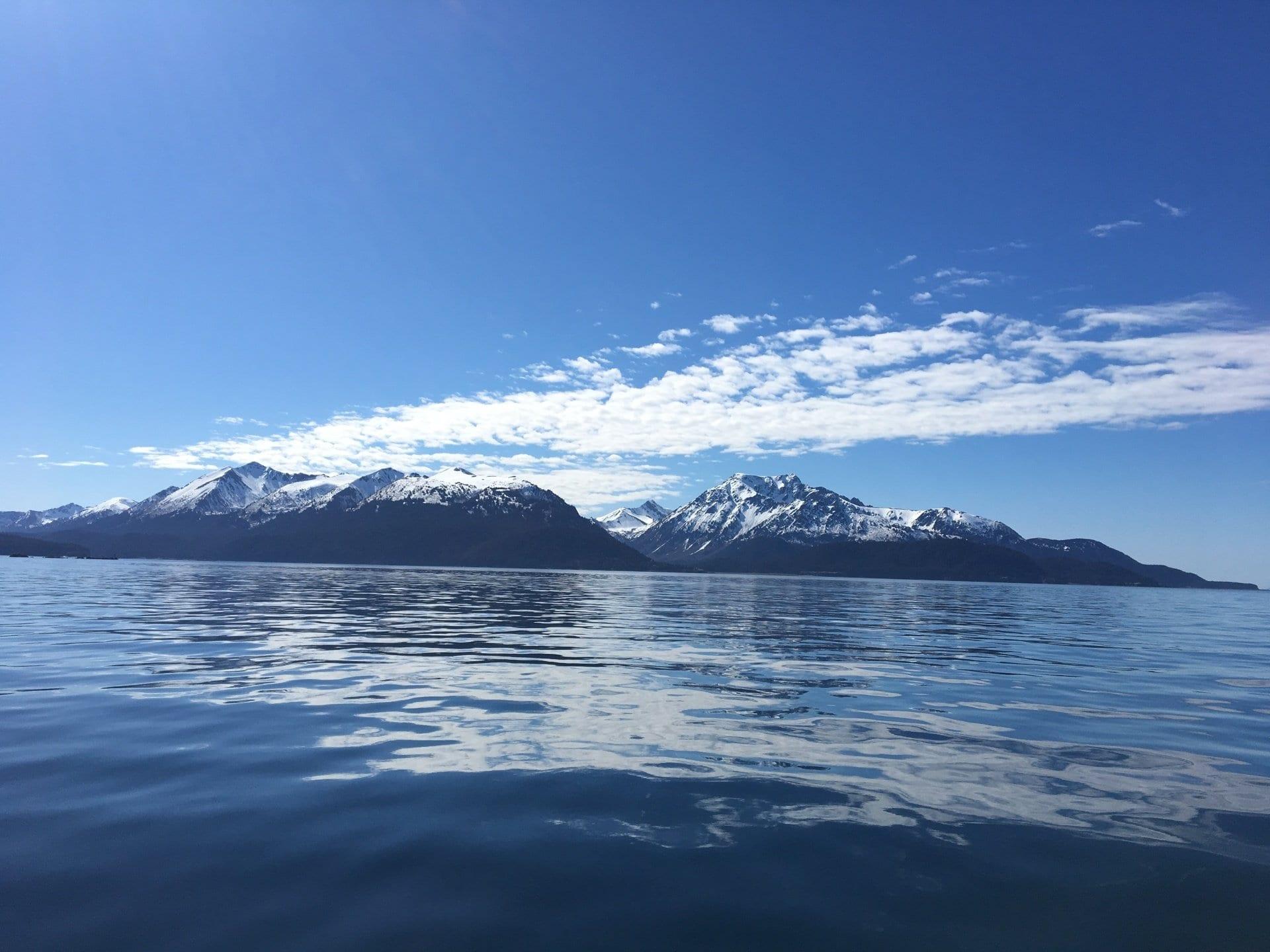 Alaska mountain range view from a lake