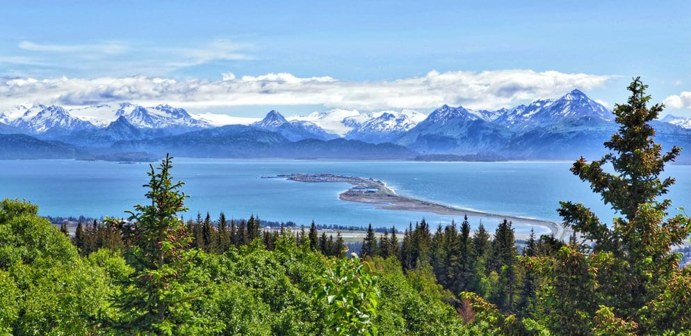 Alaska mountain range over the water