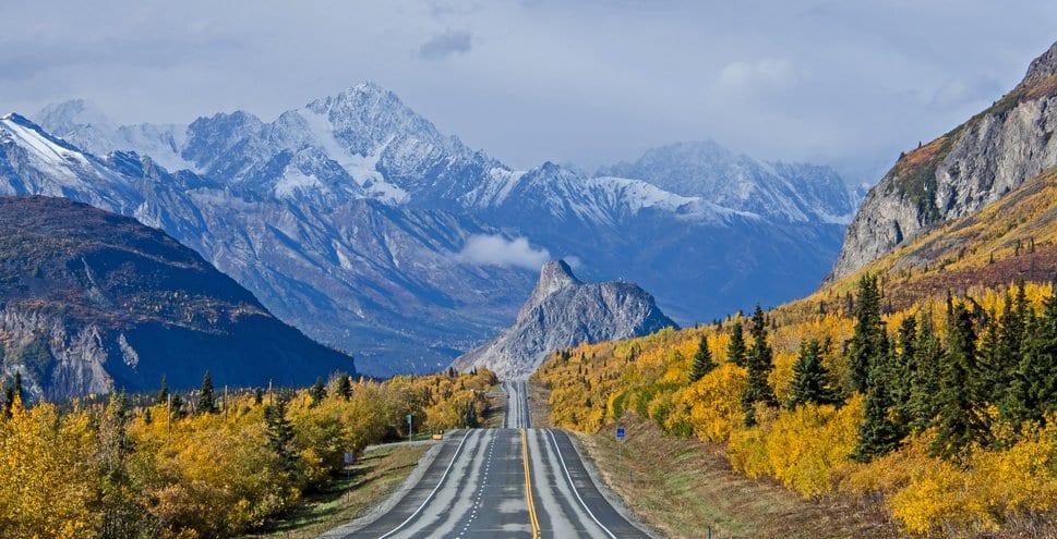 Alaska highway through mountains