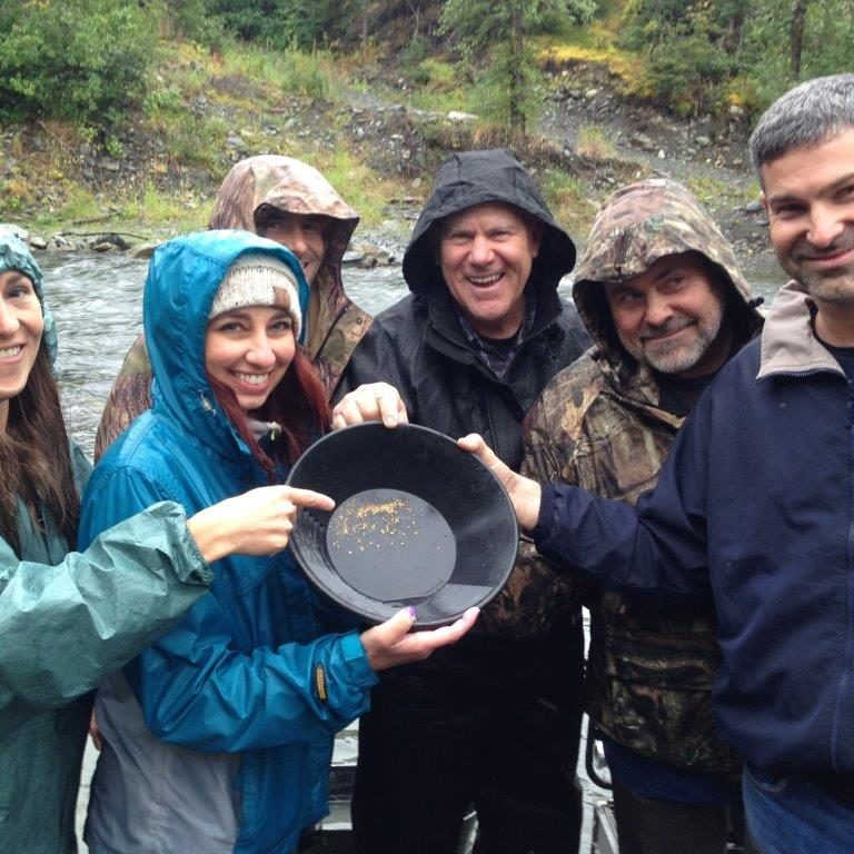 family panning for gold
