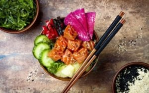 fresh fish in poke bowl