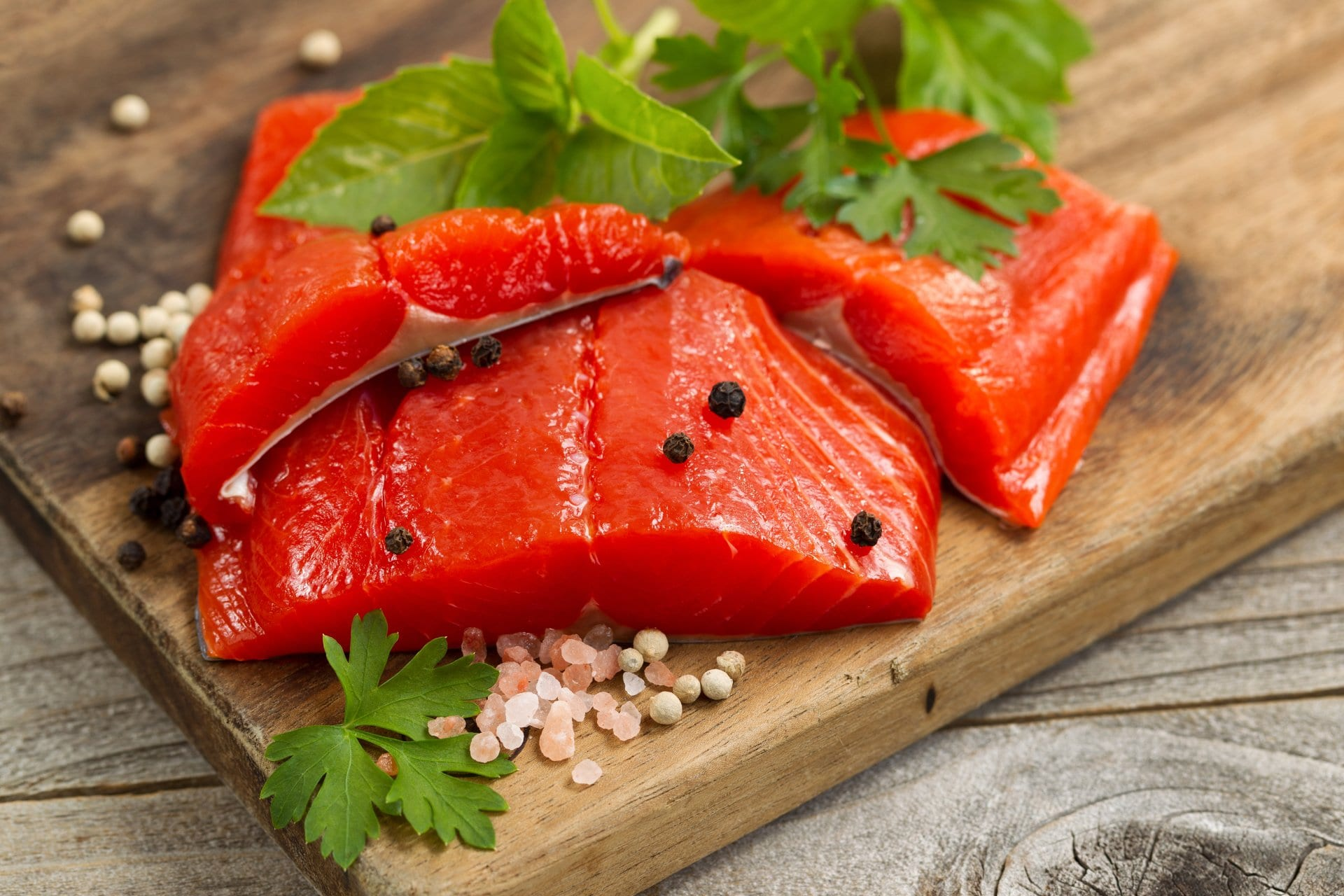 fresh salmon being prepared