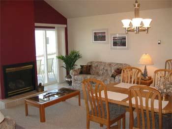 living room inside cabin at soaring eagle lodge