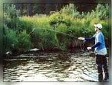 man fishing in Alaska river