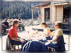 people outside lodge in Alaska